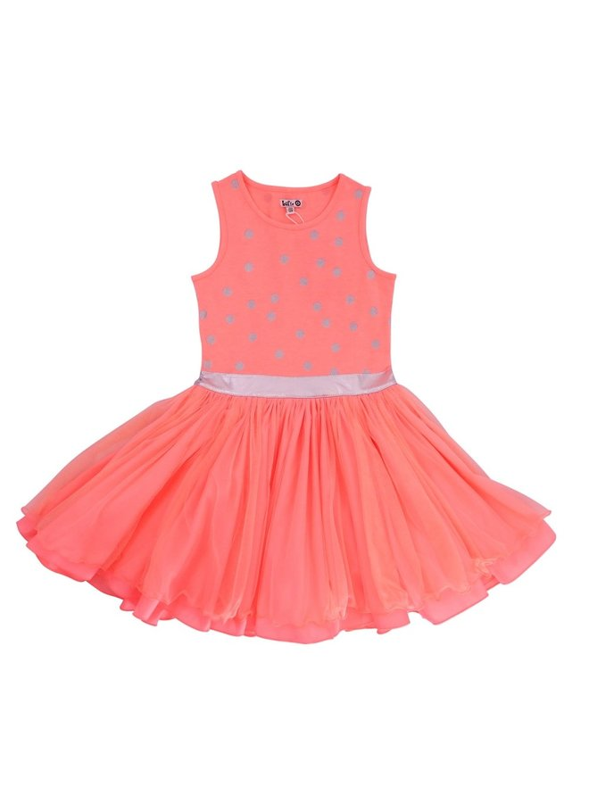 Dancing Dress - Peach/Silver Dots