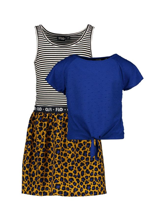 2pc Dress Cobalt/Stripe