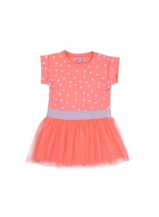 Sweet Dress - Bright Peach/White