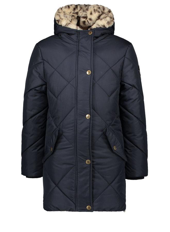 Long Hooded Jacket Navy