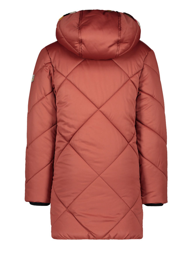 Long Hooded Jacket Rust