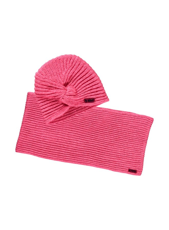 Hat And Coll Scarf - Shocking Pink