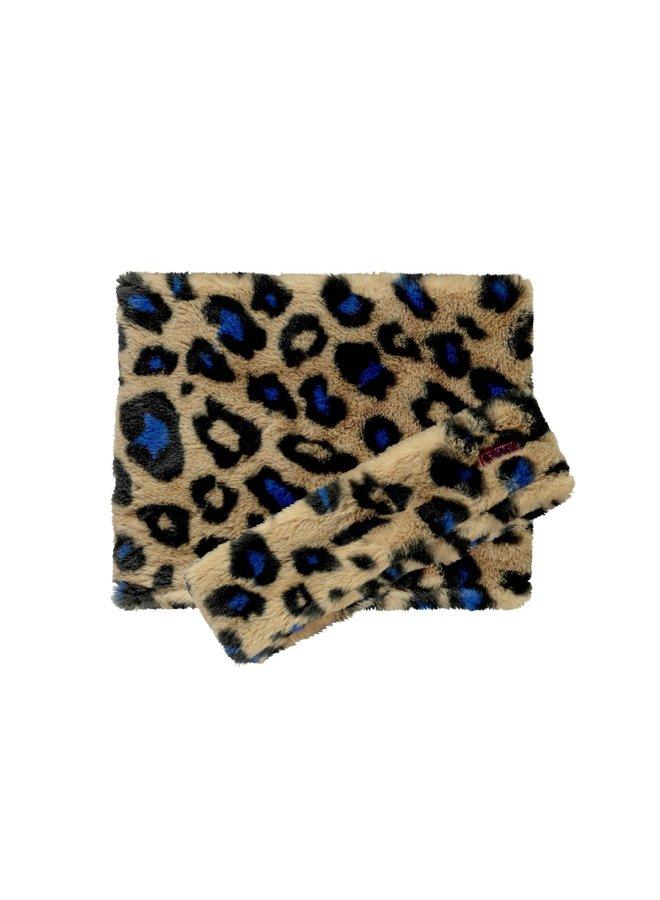 Fur Scarf And Hairband - Cobalt Panther Fur