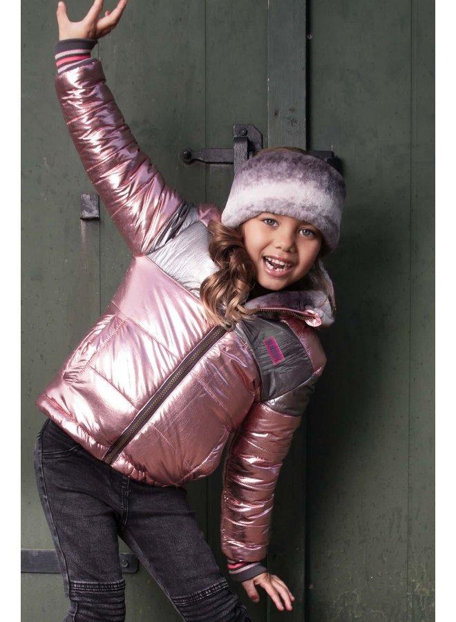 Reversible Jacket Gradient Stripe Fur And Metallic Shell - Light Pink