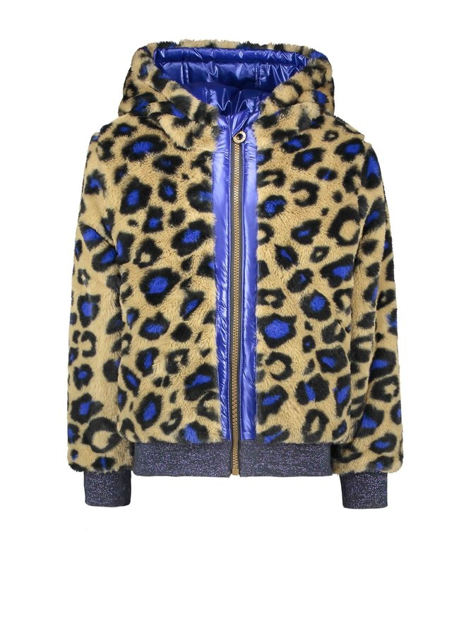 Reversible Jacket Leopard Fur And And Metallic Shell - Cobalt