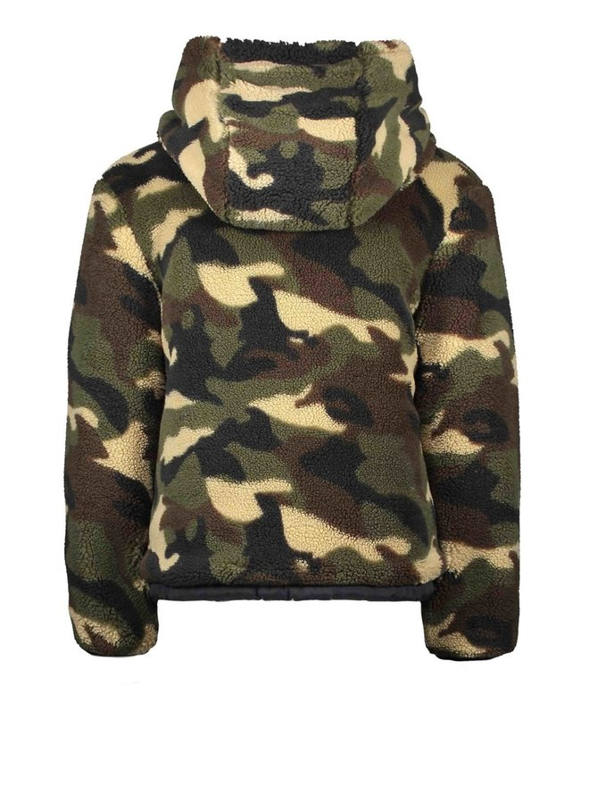 Reversible Jacket Diamond Stitching And Army Panther Teddy - Oxford Blue