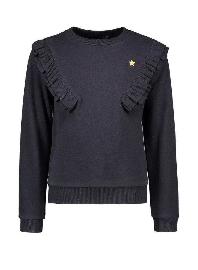 Sweater Fancy Rib Ruffle - Navy