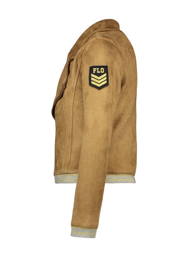 Neopreen Suede Biker Jacket - Mud