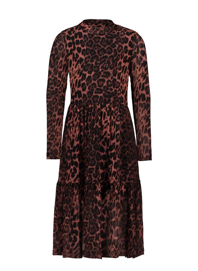 Animal Mesh Long Dress - Old Pink