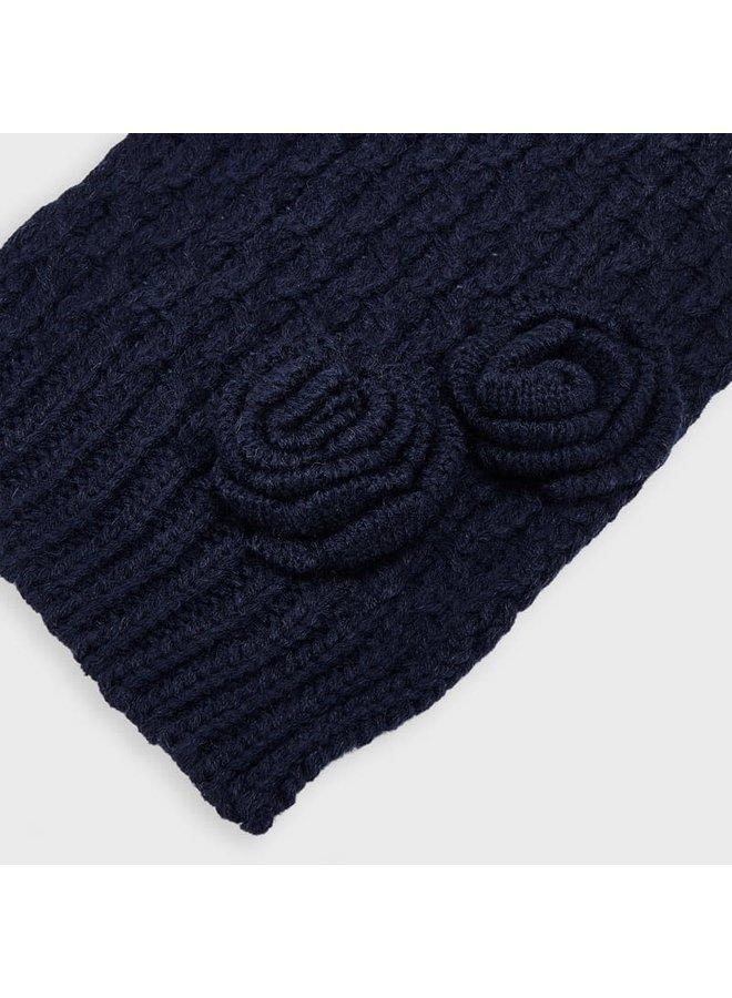 3-delige set Muts, Sjaal, Handschoenen Bloem Blauw
