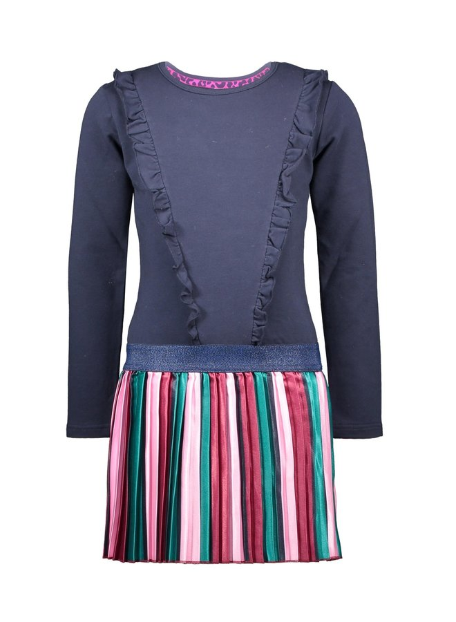 Dress Vertical Striped Satin Skirt - Oxford Blue