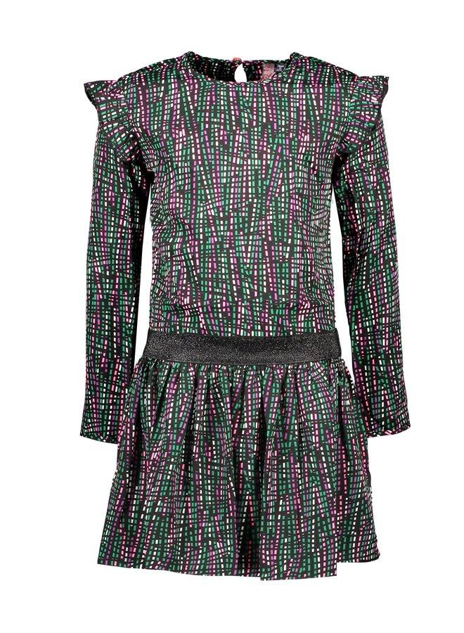 Woven AOP Dress Ruffle Detail Around Armhole - Rock Stripe