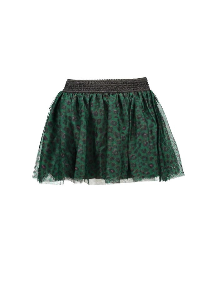 Printed Panther Netting Skirt - Jade Leopard