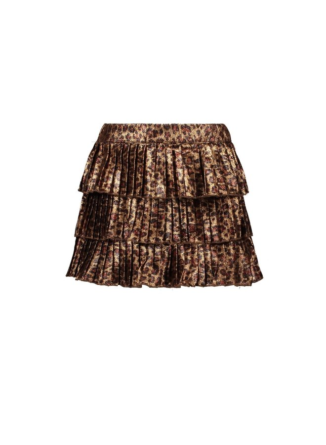Fake Panther Leather Plissé Skirt - Leopard Leather