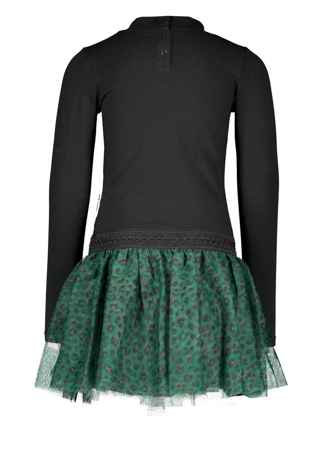 Dress With Coll And Printed Panther Skirt - Black