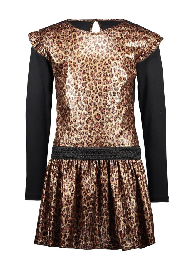 Panther Fake Leather Dress With Ruffle Around Armhole - Leopard Leather