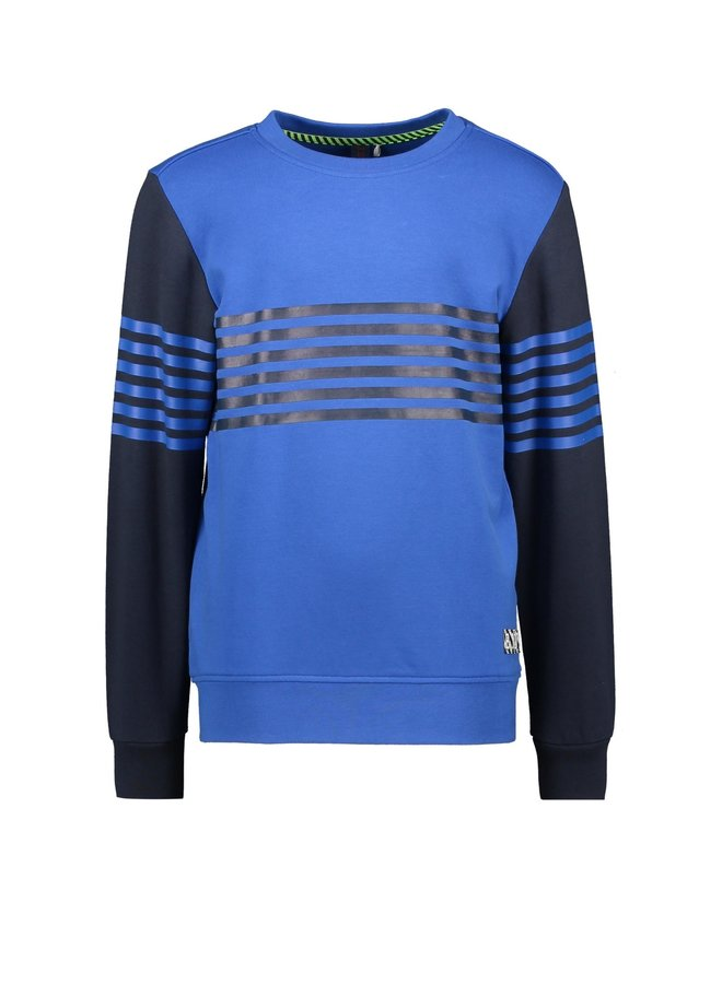 Sweater Vertical Printed Stripes On Body And Sleeves - Nautical Blue