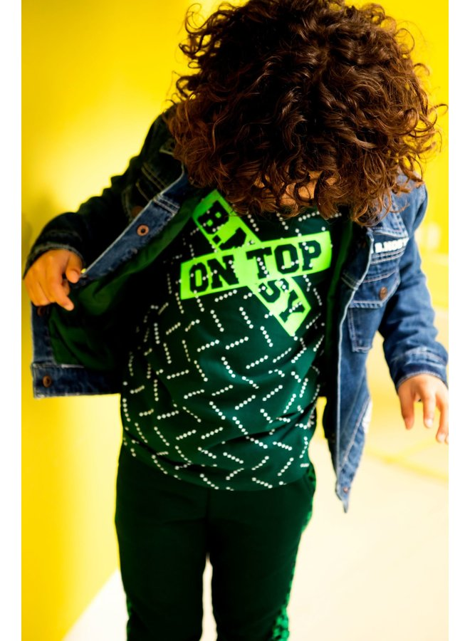 Shirt AOP Body And Solid Sleeves - Top Squares Green