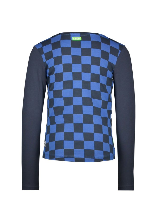 Shirt AOP Check Part And Slanted Artwork - Oxford Blue