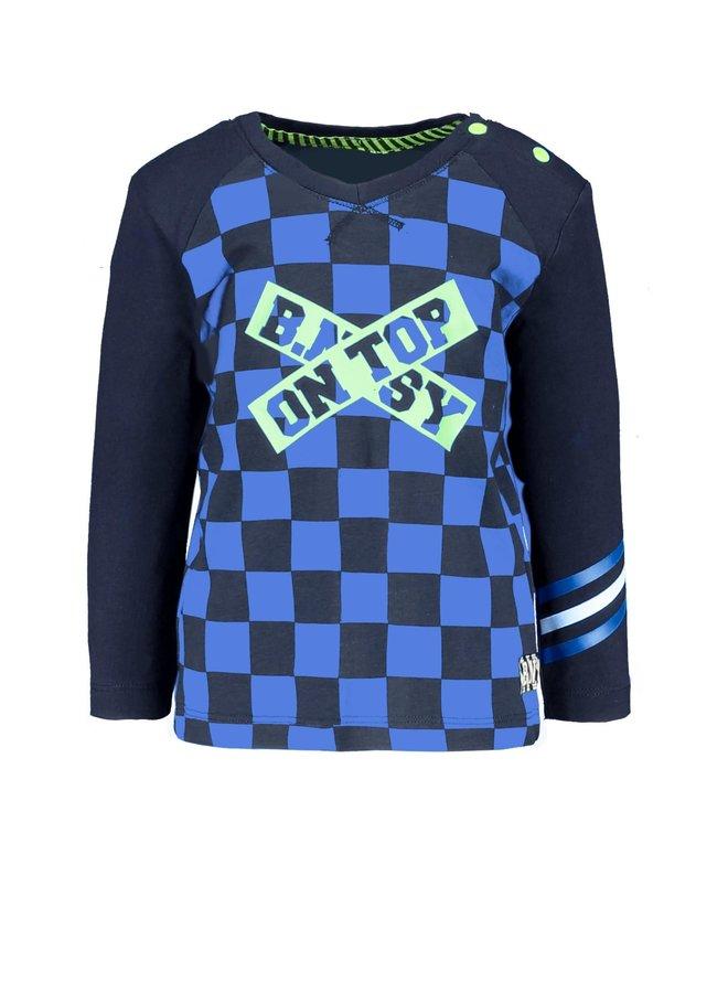 Shirt Check Print Body And Plain Sleeves - Top Check Blue