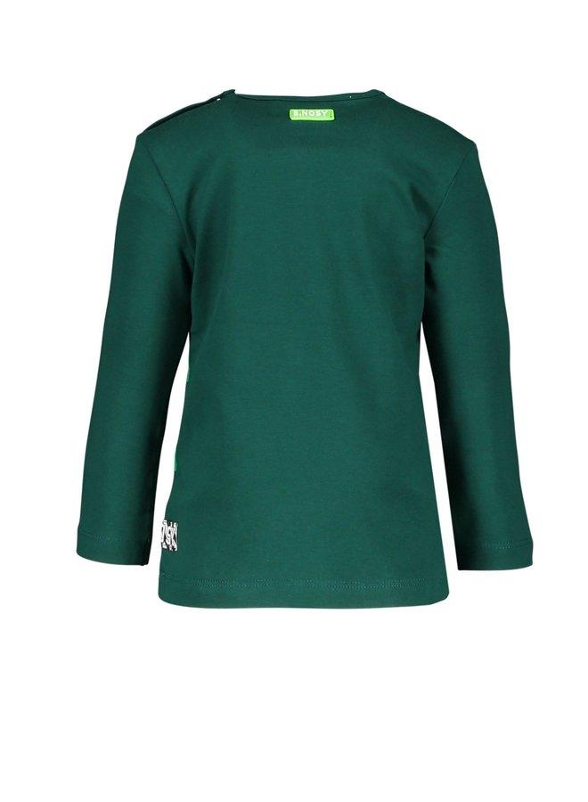 Shirt Slanted Check Print On Hem - Botanical green