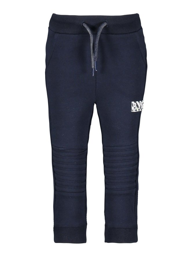 Quilted Sweat Pants With Folded Knee Parts - Oxford Blue