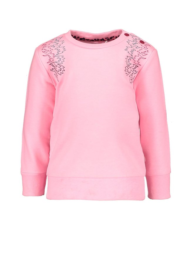 Sweater with Fancy Embroidery Ruffle Around - Sorbet