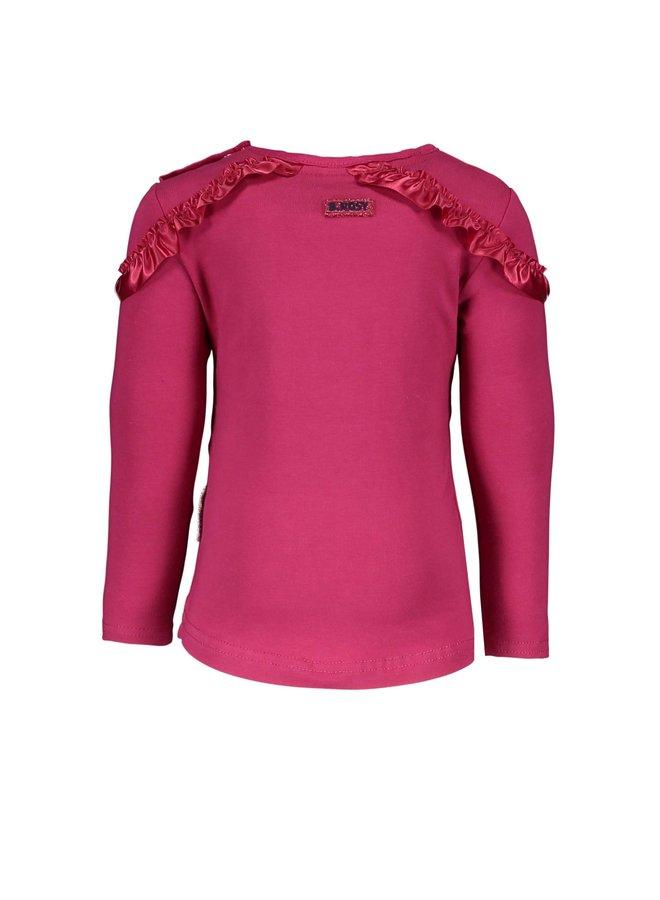 Shirt Ruffle Detail On Soulder - Sangria