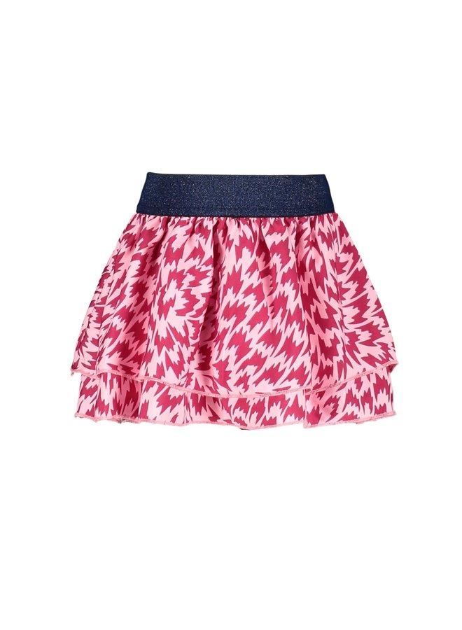 Layerd Skirt AOP Flame Smocked - Sorbet Flame
