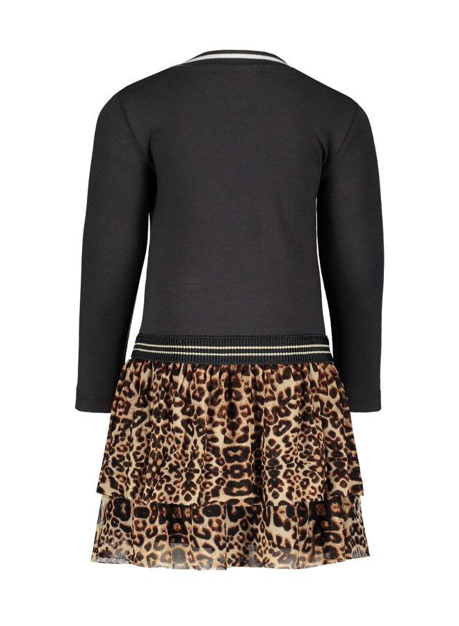 Jersey Longsleeve Dress AO Mesh Skirt - Antra