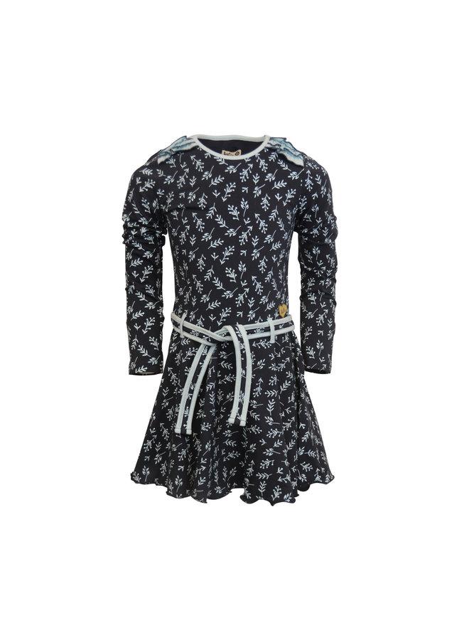 Loffely Dress Joanneke - Dark Blue Leaf