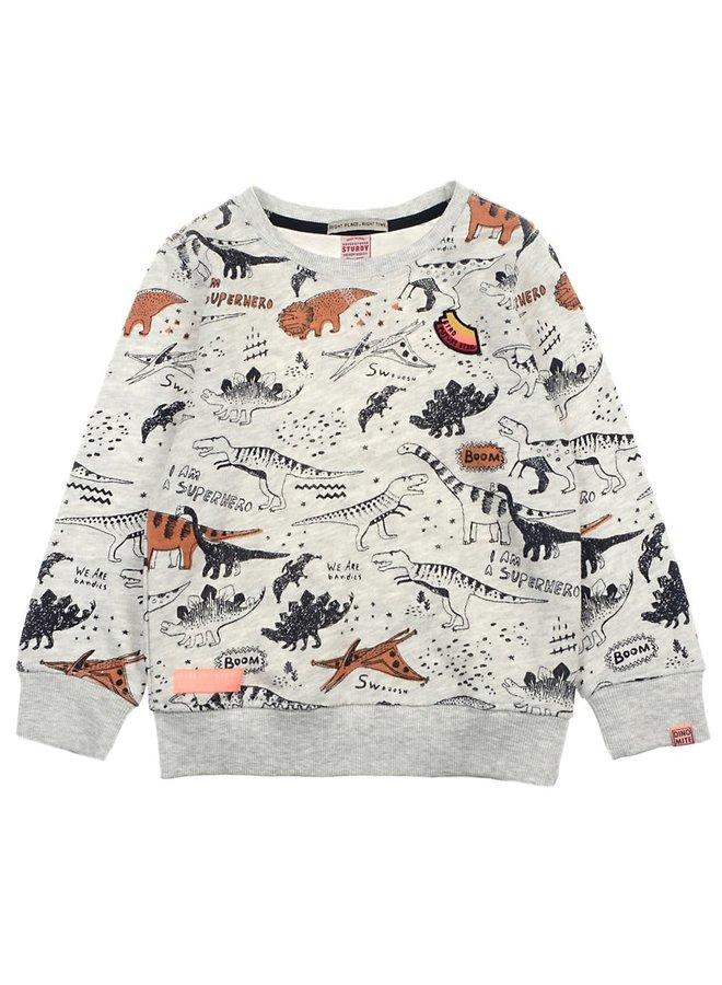 Sweater AOP Zand Melange - Dino-Mite