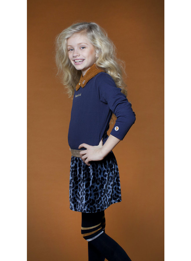 Dress With Fake Fur Skirt - Navy