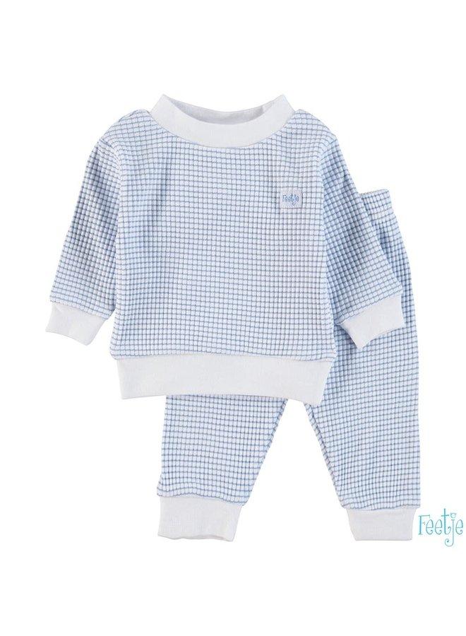 Baby Pyjama Wafel  - Blauw