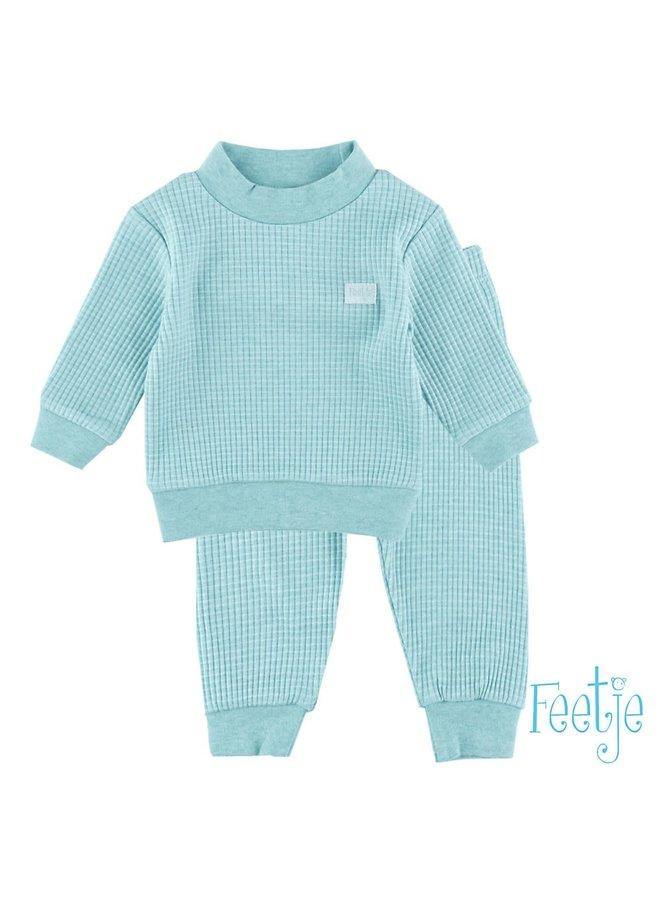 Feetje-Baby Pyjama Wafel - Groen Melange