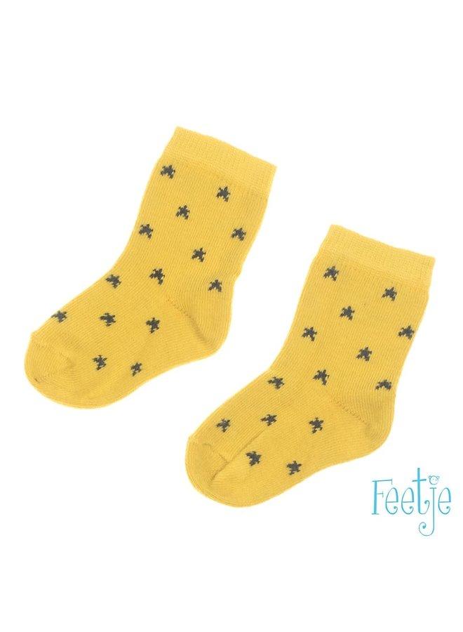 Feetje-Sok Geel - Stars
