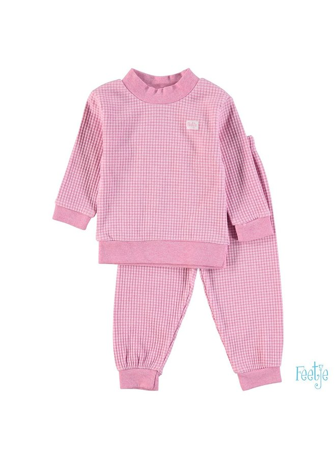Feetje-Pyjama Wafel - Roze Melange