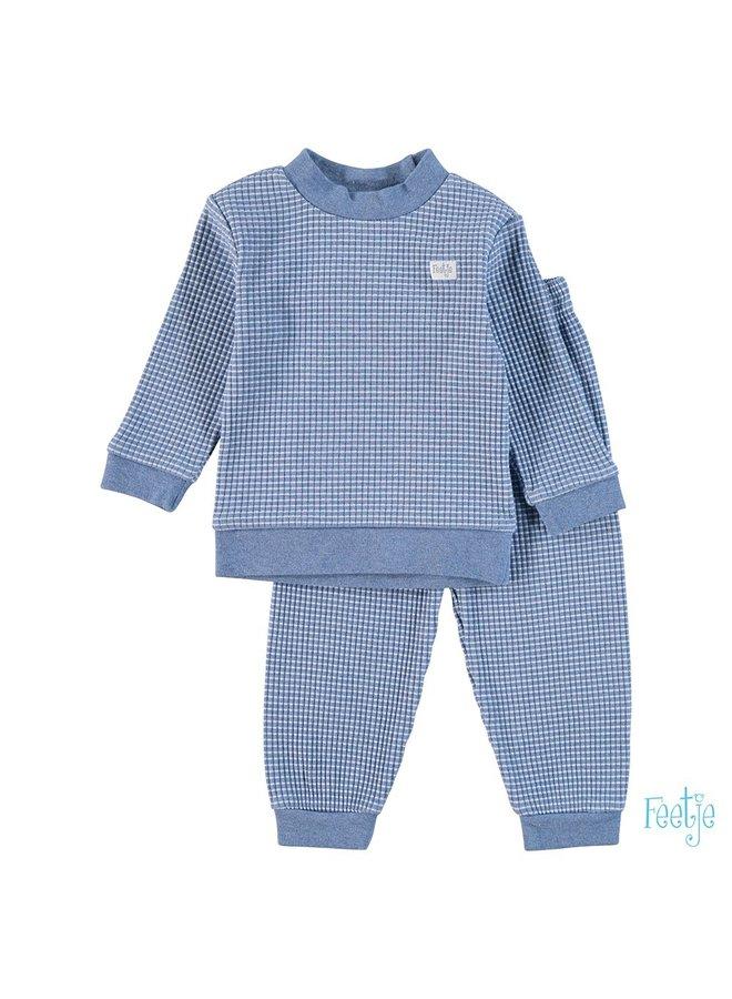 Feetje-Pyjama Wafel - Blauw Melange