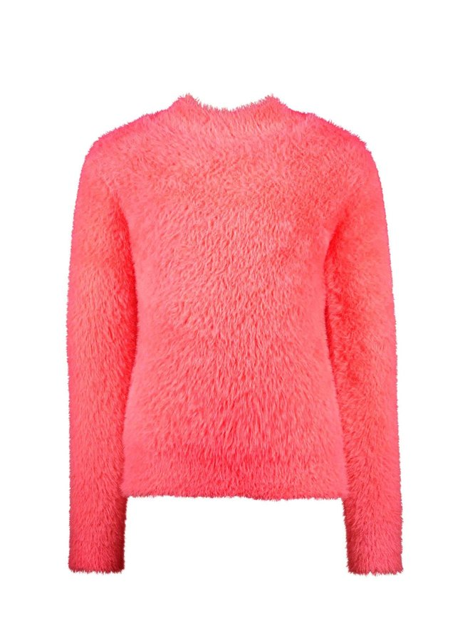 Furry Sweater Slits On Both Sides - Festival Pink