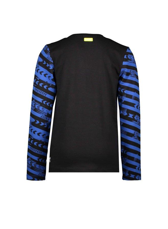 Shirt Slanted Cut Sew Panels Chest Artwork  - Forward Oxford Stripe