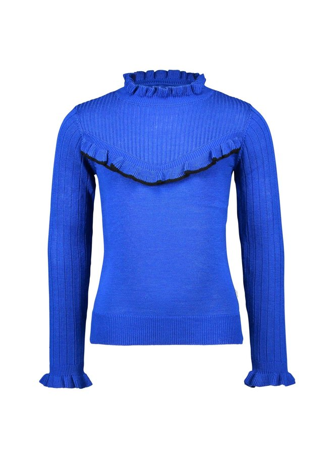 Knitted Pullover V-Shaped Ruffle - Cobalt Blue