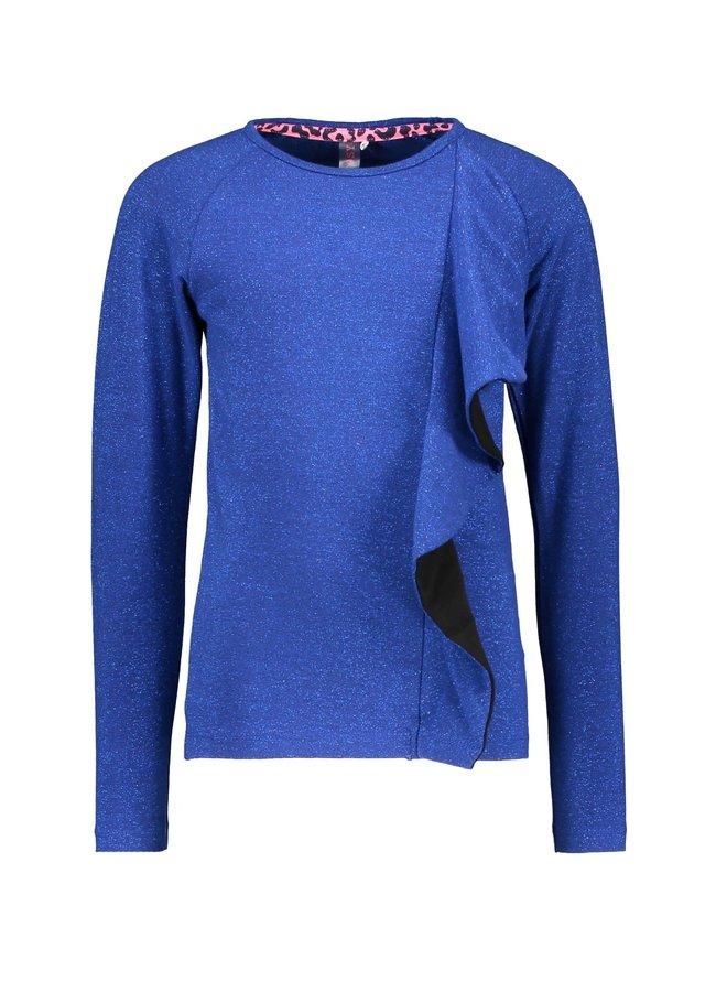 Shirt Vertical 2-Color Ruffle - Cobalt Blue