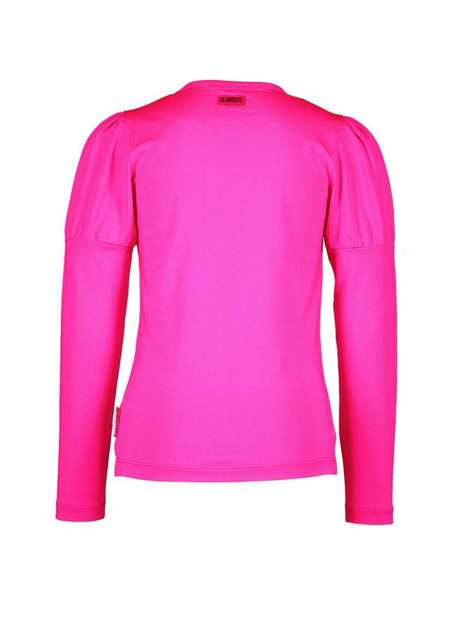 Shirt Puffed Sleeves Chest Artwork - Pink Glo