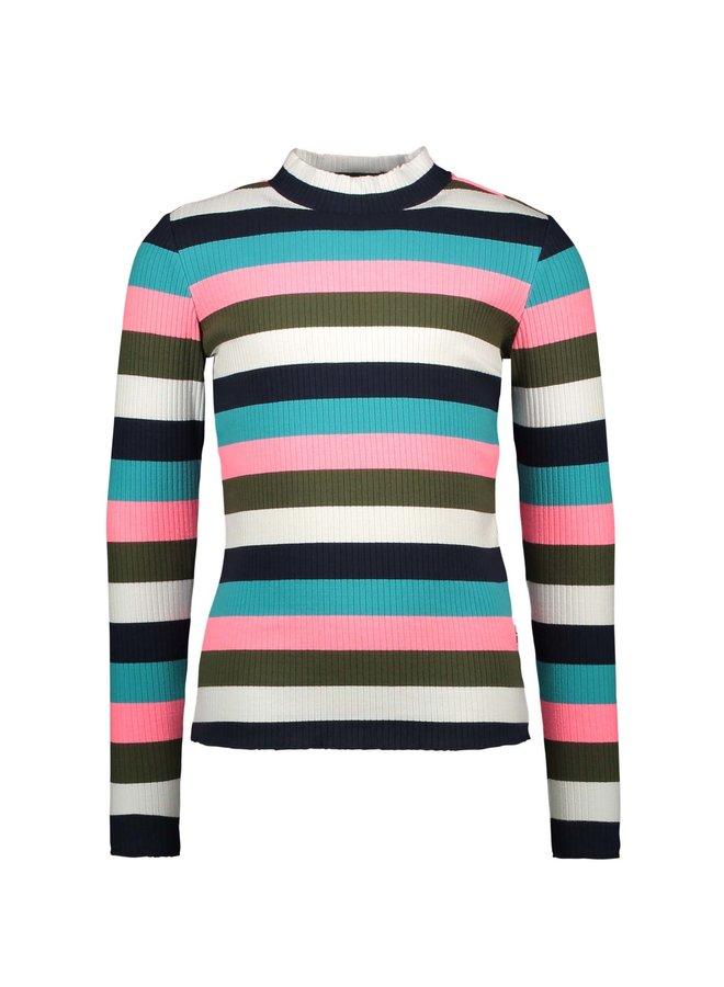Shirt Multi Color Rib Yarn Dyed Stripe - Big Multi Color Stripe