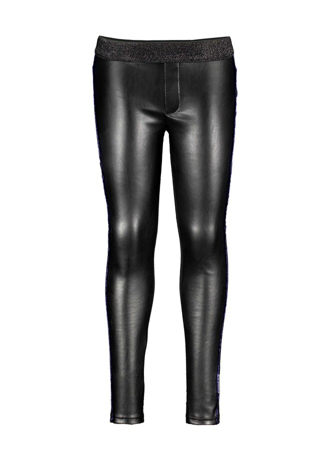 Bonded Fabric Pants With Piping - Black