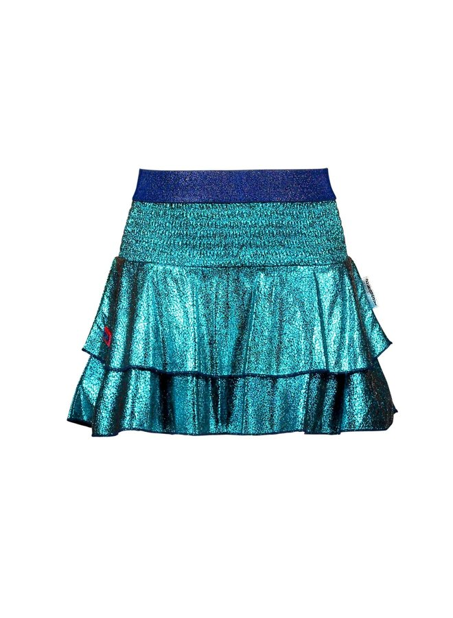 Foil Crack Leather Skirt Smocked And Layers - Ceramic
