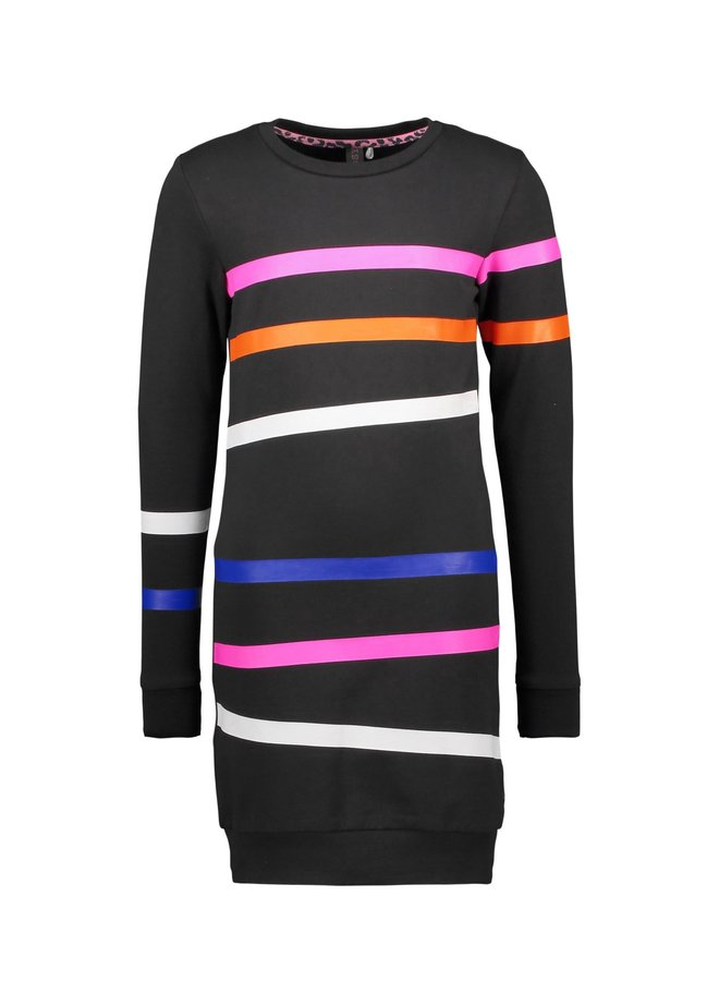 Sweat Dress Printed Stipes On Body And Sleeves - Black