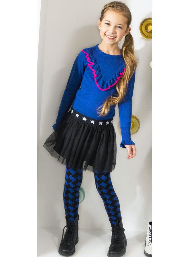 Dress Kitted Top Netting Skirt - Cobalt Blue