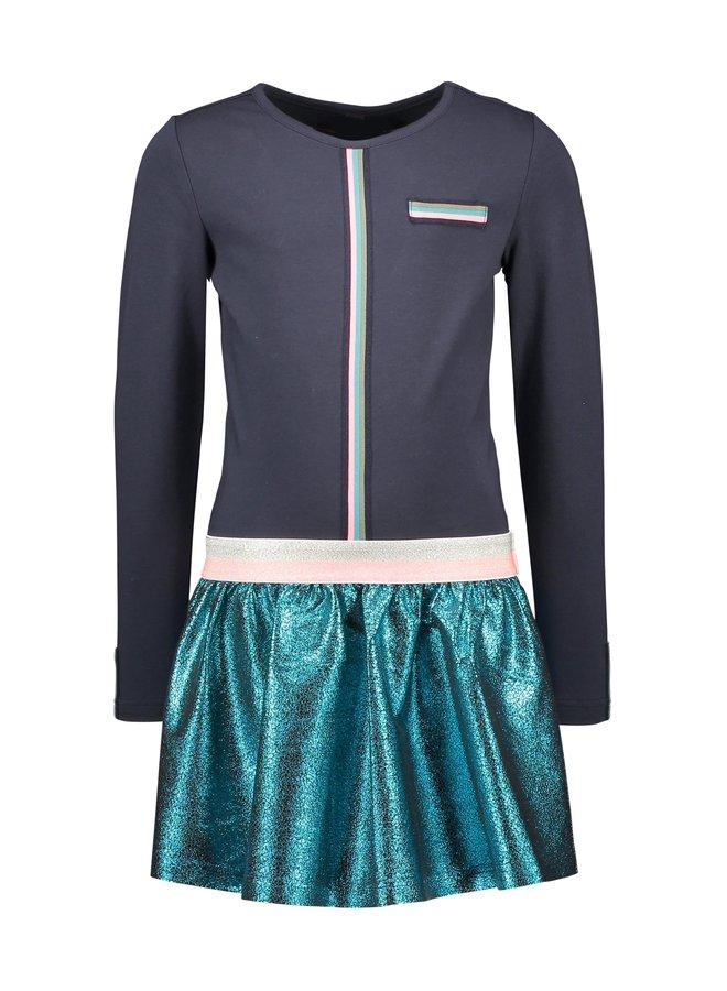 Dress Fancy Tape Plisse Metallic Skirt - Oxford Blue