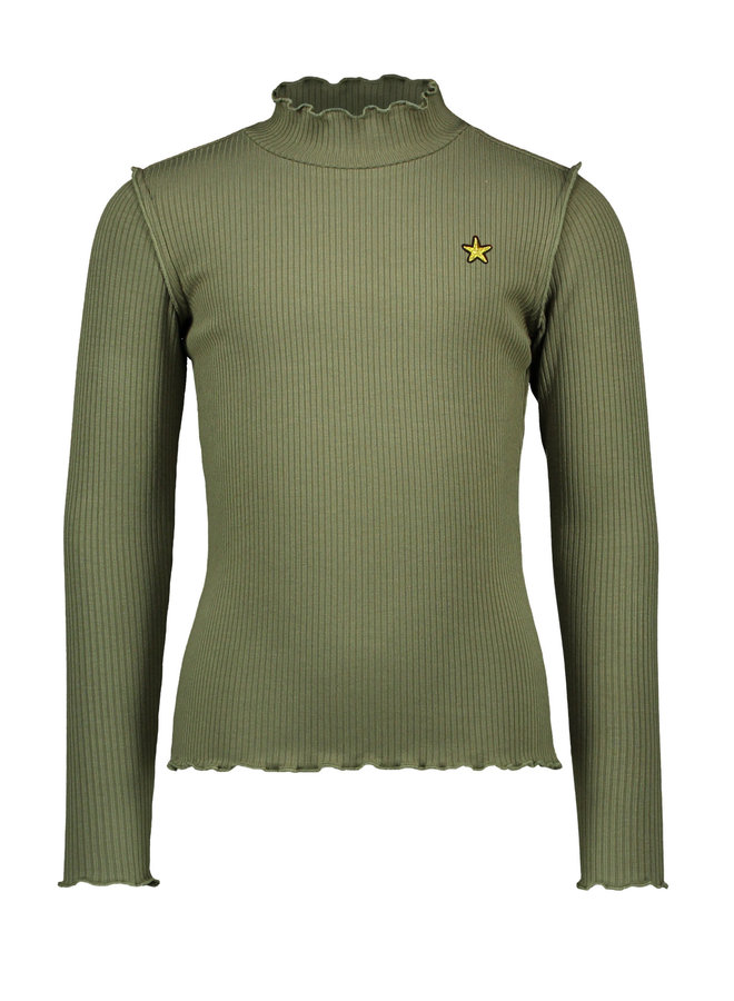Rib Longsleeve Turtle Neck - Army